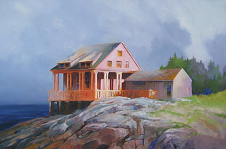 Seahouse oil on canvas by Paul Stone artist