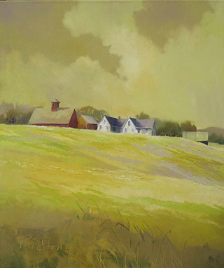 Vermont Farm in Yellow oil on canvas by Paul Stone artist